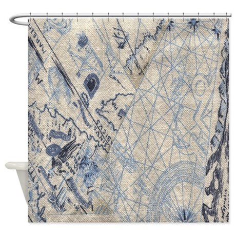 Nautical Map Shower Curtain By Crazyshowercurtains