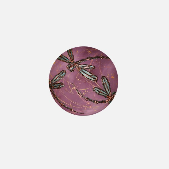 Dragonfly Flit Dusky Rose Mini Button