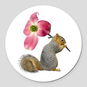 Squirrel Pink Flower Round Car Magnet
