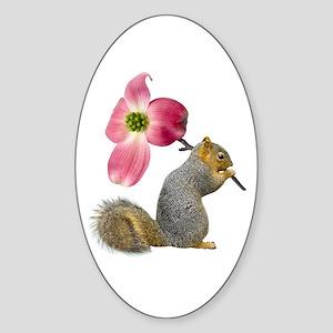 Squirrel Pink Flower Sticker (Oval)