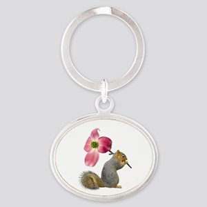 Squirrel Pink Flower Oval Keychain