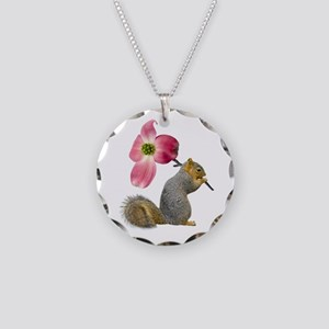 Squirrel Pink Flower Necklace Circle Charm