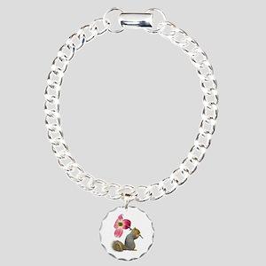 Squirrel Pink Flower Charm Bracelet, One Charm