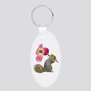 Squirrel Pink Flower Aluminum Oval Keychain