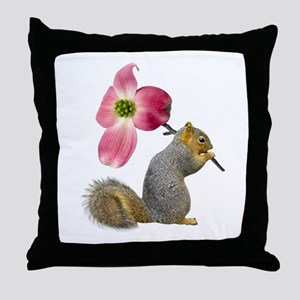 Squirrel Pink Flower Throw Pillow