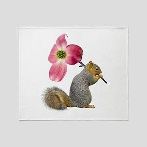 Squirrel Pink Flower Throw Blanket