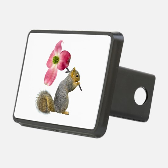 Squirrel Pink Flower Rectangular Hitch Cover