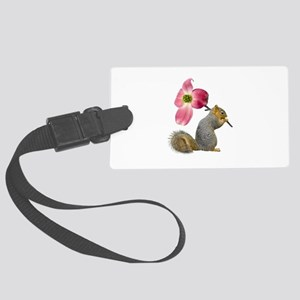Squirrel Pink Flower Large Luggage Tag
