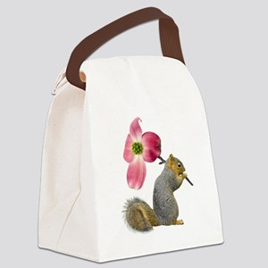 Squirrel Pink Flower Canvas Lunch Bag