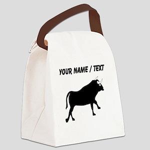 Custom Black Bull Canvas Lunch Bag