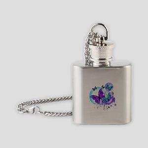 Bubble Butterflies CM BB Flask Necklace