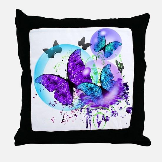 Bubble Butterflies CM BB Throw Pillow