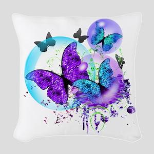 Bubble Butterflies CM BB Woven Throw Pillow