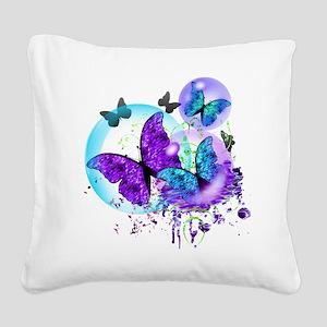 Bubble Butterflies CM BB Square Canvas Pillow