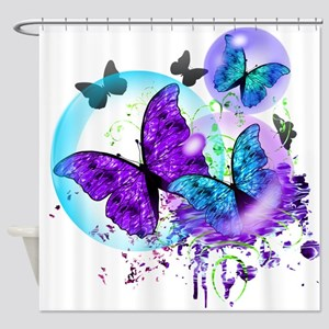 Bubble Butterflies CM BB Shower Curtain