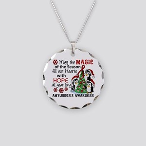 Christmas Penguins Amyloidos Necklace Circle Charm