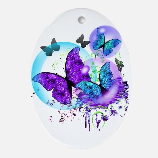 Bubble Butterflies CM BB Ornament (Oval)