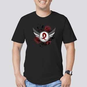 Grunge Ribbon Wings Am Men's Fitted T-Shirt (dark)