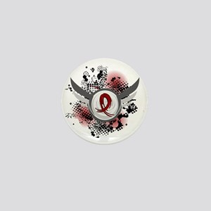 Grunge Ribbon Wings Amyloidosis Mini Button