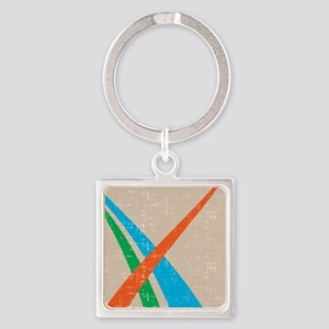Retro style Abstract Square Keychain
