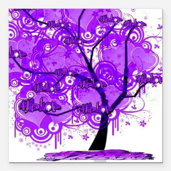 "Purple Tree Art Square Car Magnet 3"" x 3"""
