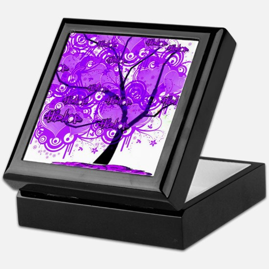 Purple Tree Art Keepsake Box