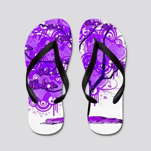 Purple Tree Art Flip Flops