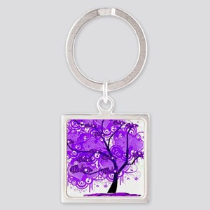 Purple Tree Art Square Keychain