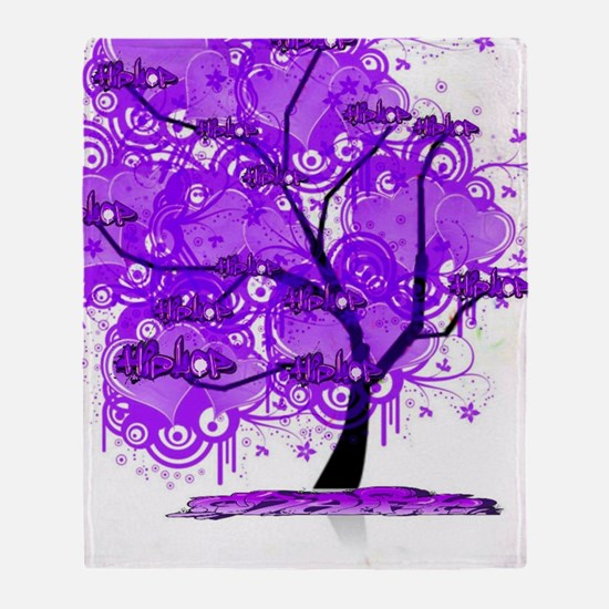Purple Tree Art Throw Blanket