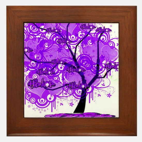 Purple Tree Art Framed Tile