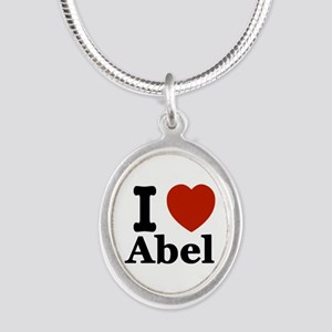 I love Abel Silver Oval Necklace