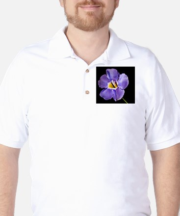Blue Macro Flower Golf Shirt