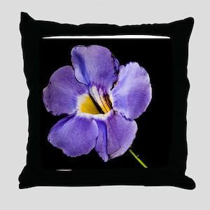 Blue Macro Flower Throw Pillow