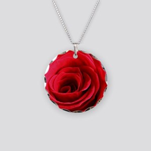 Red Rose Necklace Circle Charm