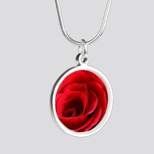 Red Rose Silver Round Necklace