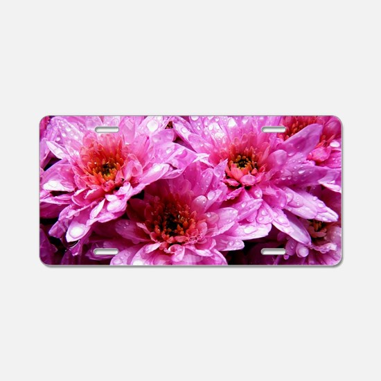 Flowers Aluminum License Plate