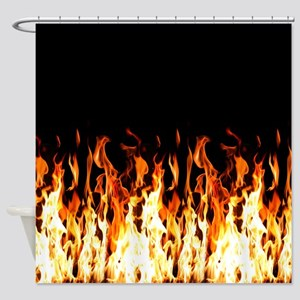 Flames Womens All Over Print T-Shirt Shower Curtai