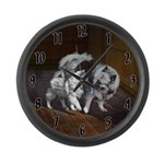 Keeshond Playtime Large Wall Clock