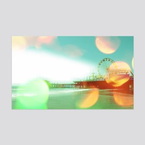 Santa Monica Pier Green Orange 35x21 Wall Decal