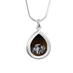 Keeshond Playtime Silver Teardrop Necklace