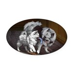 Keeshond Playtime Oval Car Magnet