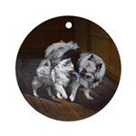 Keeshond Playtime Round Ornament