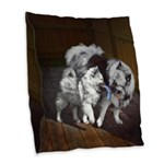 Keeshond Playtime Burlap Throw Pillow