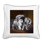 Keeshond Playtime Square Canvas Pillow
