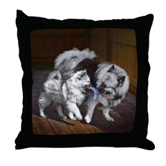 Keeshond Playtime Throw Pillow