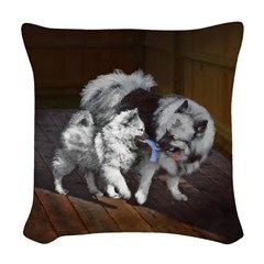Keeshond Playtime Woven Throw Pillow