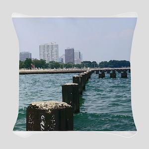 Lake Shores of Chicago Woven Throw Pillow