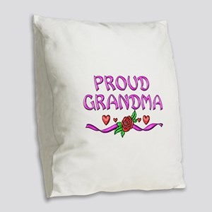 Proud Grandma Burlap Throw Pillow