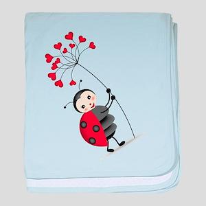ladybug with heart tree baby blanket