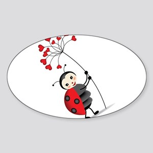 ladybug with heart tree Sticker